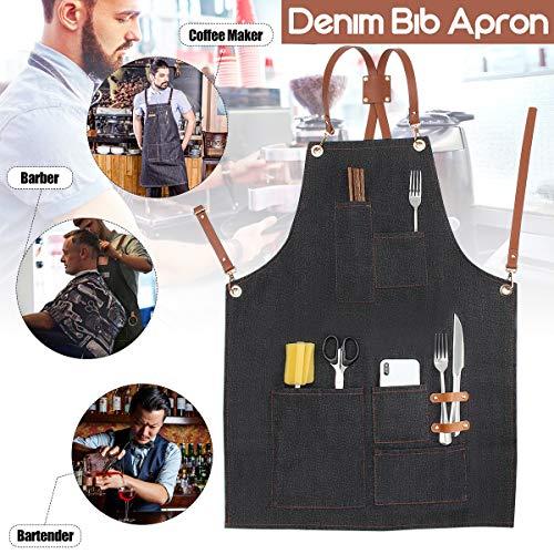 Essort Grillschürze, Unisex, Kochschürze, Denim Bib Apron mit Taschen, geeignet für Profis in der Küche, der Garten, 83 × 60 cm, Cowboy schwarz -