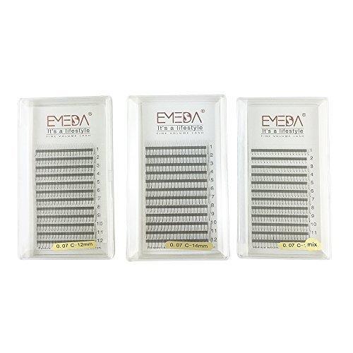 Emeda, extension 3d w per ciglia, singole, per dare volume, 0,07c curl, mix 8–14/12/14mm, 3 confezioni