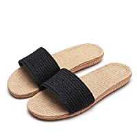 ArgoBar Summer Personality Fashion Korean Solid Color Linen Slippers Non-Slip Breathable Fashion Pu Leather Slippers Black