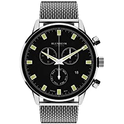 Blenheim London® Chronomaster Black Dial Pilot Watch with Stainless Steel Strap