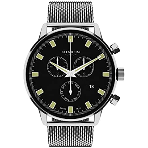 Blenheim Londres® Chronomaster Piloto de esfera negra reloj con correa de acero inoxidable