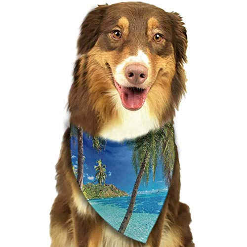 BetterShopDay Dog Bandana Ocean Illustration of Cloudy Sky Tropical Island Wave and Surfer at Sunset Seascape Scarf for Small and Medium Dogs and Cats