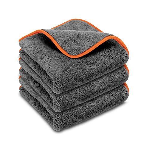 POLYCLEAN 3X Buffa® Autotuch - Ultimatives Poliertuch für Lackpflege - Flauschiges Pflegetuch mit extrem hoher Aufnahmekapazität - lackschonendes Trockentuch (40 x 40 cm, Grau, 3 Stück) - Detaillierung Innenraum Auto