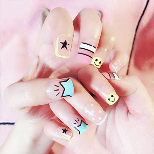 Nail Art Tip & Glue Cartoon Star Smile Pattern Artificiales uñas postizas Perfect Length Full Cover Beauty Art Decoration Manicura Pedicura para mujeres adolescentes niñas 24 piezas/caja
