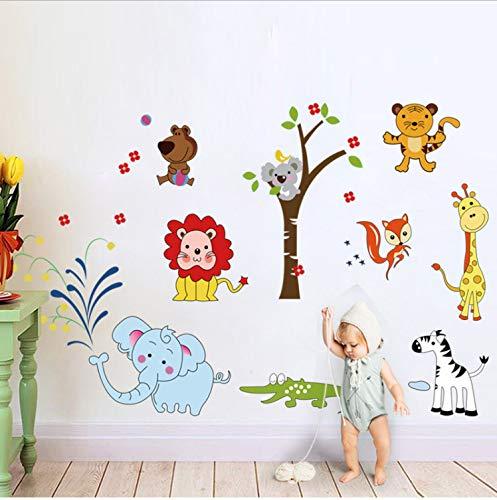 Tier Löwe Elefant Wandaufkleber Dschungel Zoo Safari Dekor Kindergarten Baby Kinder Schlafzimmer Dekore Kunst