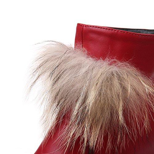 VogueZone009 Donna Punta Tonda Tacco Alto Media Altezza Puro Stivali Rosso