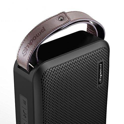 Simpowel V10 – Bluetooth Lautsprecher 4.0 Tiefer Bass 20W Tragbar Drahtloser Lautsprecher Mit TI 5 Serie DSP und Einbauen Micro SD MP3 plaer Mikrofon Bis zu 10 Stunden Spielzeit (Schwarz) - 4