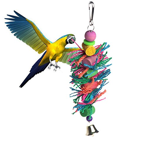 haia7k4k Vogel Spielzeug, Schaukel hängen in Vogelkäfig Holz Chew Zylinder Seil Spielzeug für Papageien -