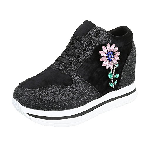 Sneaker Ital-design Sneaker Basse Da Donna Sneakers Basse Con Laccetti Neri
