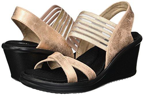 Skechers Rumblers-Glam Society, Sandali con Cinturino alla Caviglia Donna, Rosa (Rose Gold), 38.5 EU