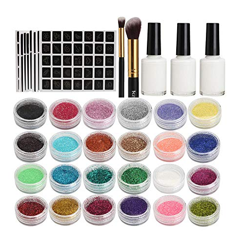 Zyyin Glitzer Tatoos Set, Glitzer Tattoos Set, 24 Farben Glitzer & 118 Muster Vorlage, für Kinder Mädchen Gesicht Körper Wasserfeste Farbe