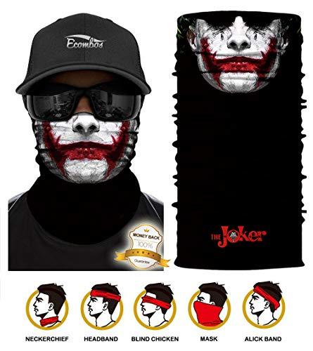 ECOMBOS Multifunktionstuch - Bedrucktes Schlauchtuch Bandana Face Shield Gesichtsmaske Halstuch Qualitäts Bandana, Ski Motorrad Paintball Maske (Joker)