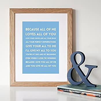 John Legend All of Me Lyrics personalised on metal wall hanging special gift