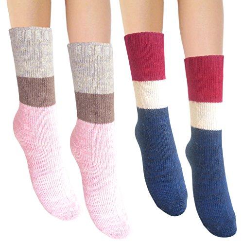 Damen Angora und Wolle gemischt warme Winter Socken dicke thermische Kalb Länge (2 Paare mischen #2) (Damen-angora-mischung)