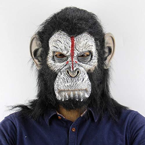 73JohnPol Planet der Affen Halloween Cosplay Gorilla Maskerade Maske Monkey King Kostüme Caps Realistische Monkey Mask (Farbe: Weiß & Schwarz) (Planet Der Halloween Affen-kostüm)