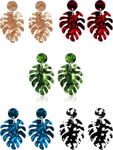 5 Paar Blatt Acryl Ohrringe Böhmischen Harz Ohrringe Tropfen Baumeln Aussage Ohrringe Palm Blatt Form Damen Schmuck, 5 Farben