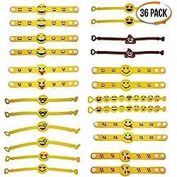The Twiddlers - 36 Unidades de Pulseras de Goma Emoji con Relleno de Bolsas de Fiesta, Pulseras de Goma, muñequeras de Fiesta, Juguetes Divertidos para niños, 36 Unidades en 3 diseños