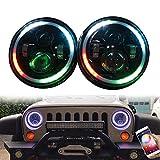 ZHUOYUE 1Pcs 7 pollici Led Fari Lampadina RGB Halo Angel Eye con DRL Bluetooth Remote Music Mode per Jeep Wrangler Lada 4x4 Niva Hummer H1 H2(Blocchi Fari anteriori auto)