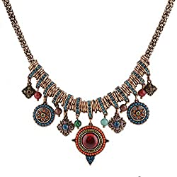 Moda Retro Aleación Rhinestone Forma Redonda Flor Cuentas Colgante Collar