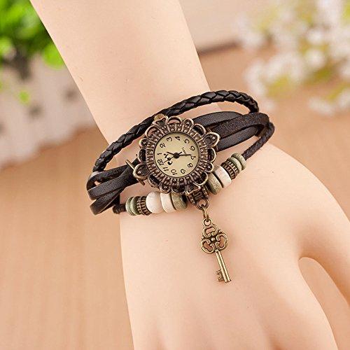 Scrox Leder weben Wrap Armband Uhr Damen Frauen Vintage Quarz-Armbanduhr charmant mit Schlüssel Anhänger (Schwarz) (Anhänger Uhren)