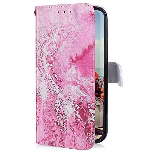 Uposao Kompatibel mit LG G8 ThinQ Hülle mit Bunt Muster Motiv Brieftasche Handyhülle Leder Schutzhülle Klappbar Wallet Tasche Flip Case Ständer Ledertasche Magnet,Meer
