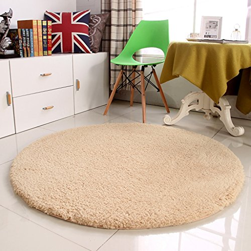 Verdickung weichen runden Teppichen Fitness-Yoga-Matten einzelne Schlafzimmer Wohnzimmer Bettvorleger Stuhlkissen weich und komfortabel ( Color : Beige , Size : Diameter 140CM )