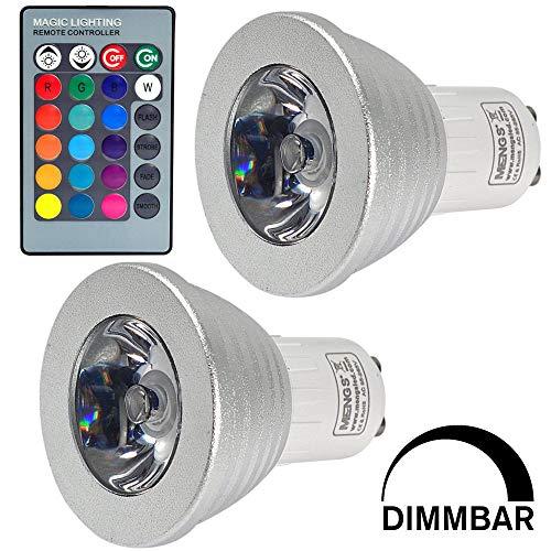 MENGS Paquete de 2 LED Colores GU10 3W RGB LED Foco Multicolor Bombillas con mando, AC 85-265V, para Aplique, Lámpara de riel, Luz de techo empotrada [Clase de eficiencia energética A+]