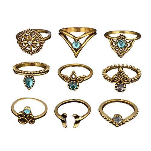 yibenwanligod 9 Pcs Bohemian Mermaid Tail Rudder Leaf Water Drop Hollow Carved Women Ring Set-Antique Golden -