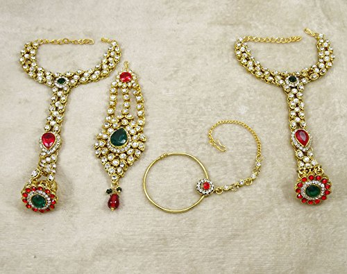 Banithani Définir Mariage Bollywood Traditionnel Cadeau De Bijoux Collier De Mariée Pour Les Femmes rouge et blanc