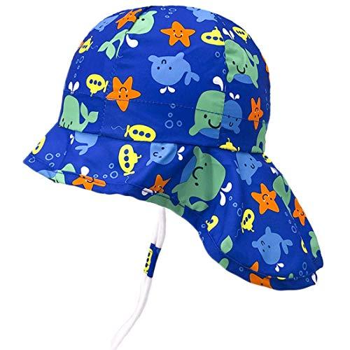 Sonnenhut mit Nackenschutz für Baby Mädchen Jungen Anti-UV UPF50+ Sommerhut für Strand, Schwimmbad, Angeln, Reise, Ausflug Hut mit Kinnriemen verstellbar Baby-jungen-hut