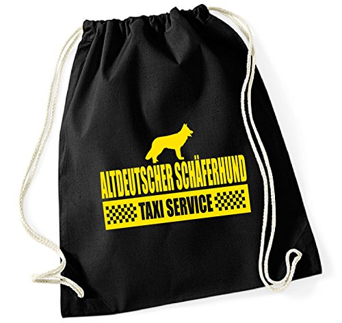 Turnbeutel - ALTDEUTSCHER SCHÄFERHUND - TAXI - Hund Hunde Baumwoll Tasche Beutel Siviwonder schwarz