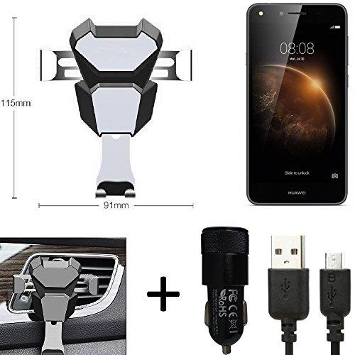 K-S-Trade® Top Set para Huawei Y6 II Compact Soporte Compacto Montaje de ventilación Ranura de la Rejilla + Cargador ventilación Coche Negro-Plateado vehículo de Motor Teléfono Inteligente movil