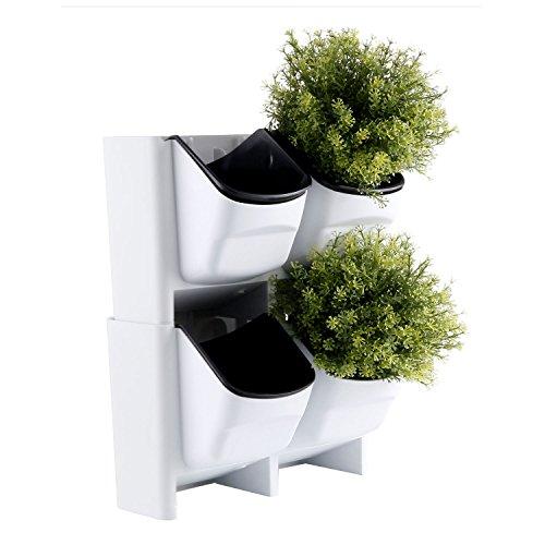 T4u piccolo set di fioriere impilabili per montaggio a parete in plastica con cestello interno estraibile, confezione da 2