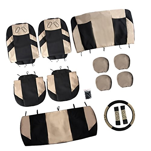Sharplace-13x-Copertura-Sedile-Anteriore-Posteriore-Set-Copri-Poggiatesta-Sterzo-Lavabile-Auto