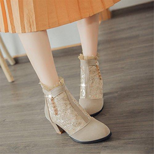YE Damen High Heels Herbst Spitze Strass Stiefeletten mit Blockabsatz und Hinter Reißverschluss Cut outs Schuhe Beige