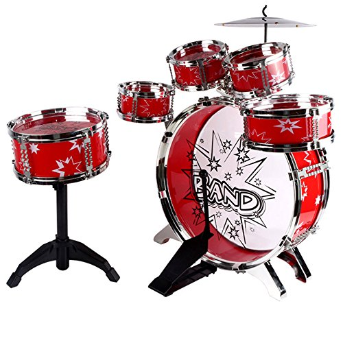 LINAG Kinder Trommel Schlagzeug Schlagwerk Musikinstrumente Mini Musik Spielzeug Früherziehung Emulation Spiele Geschenk Baby Kleinkinder Drumsticks Sätze Rhythmusinstrumente Handschlag Drum-5828,Red