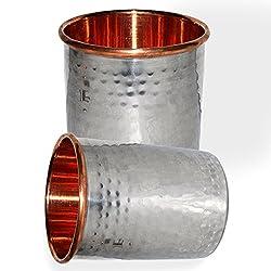 DakshCraft Handmade Drinking Stainless Steel Inside Copper Glass, Set of 2
