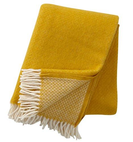 KLIPPAN: Creme-gelbe Wolldecke \'saffron\' mit Rautenmuster 130x200cm aus Lambswool, ca 900 g