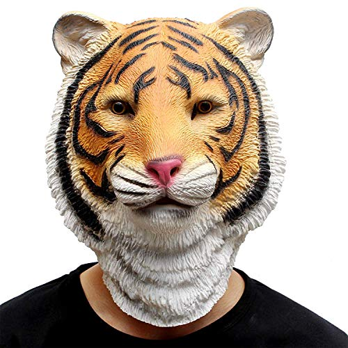Einfach Kostüm Tiger - CreepyParty Halloween Kostüm Party Tierkopf Latex Masken Tiger