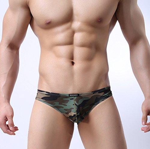 GS~LY confortevoli ed esclusive di intimo uomo intimo tasca stampato low-rise u convessa slip traspirante , camouflage , l  Acquista 2 ottenere 1