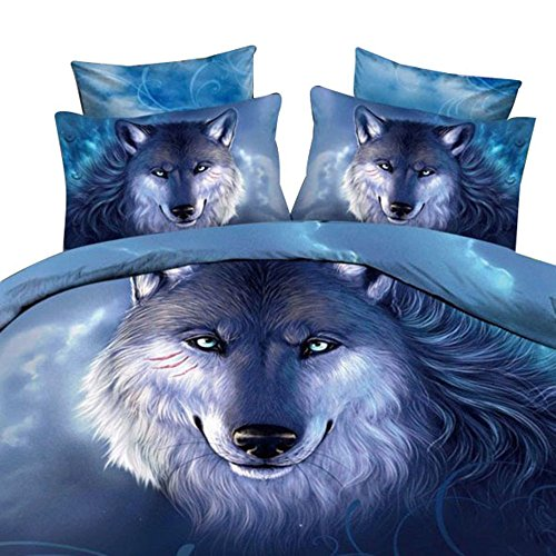 Unimall 4 Pcs King/Queen Size 3D Bedding 100% Cotton Quilted Lightweight Animal Duvet Cover Set Snow Wolf in the Woods Printed Sets for Boys Children Men (KING)