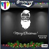Vetrofanie Natale Adesivi Natale - Babbo Natale Hipster Stile 1 - Vetrofanie per Natale, vetrine negozi, stickers (Bianco)