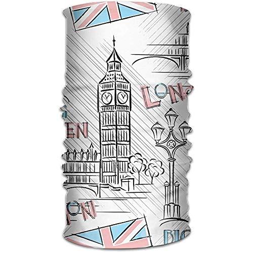 Londra Big Ben Ghetta Collo Copricapo magico Fascia per capelli Bandana Maschera Sciarpa sportiva Scaldacollo Copricapo per Donna Uomo