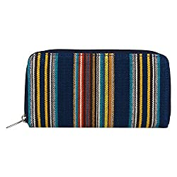 Anekaant Streak Blue Canvas Wallet