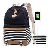 VADOO Rucksack Damen, Mode Striped College Taschen Schüler Schulrucksack mit USB-Ladeanschluss 13,7 x 17,7 x 6,7 Zoll