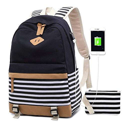 Preisvergleich Produktbild VADOO Rucksack Damen,  Mode Striped College Taschen Schüler Schulrucksack mit USB-Ladeanschluss 13, 7 x 17, 7 x 6, 7 Zoll
