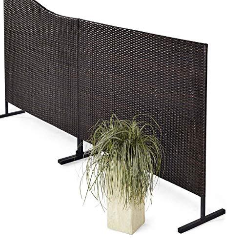 Pureday Stellwand Sichtschutz Terrasse Kunstrattan braun-schwarz 150 x 4,5 x 130 cm -