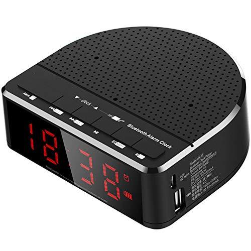 XIAOYH Digital-Wecker-Radio, Mit Bluetooth-Lautsprechern, Rot-Stellige Anzeige Mit 2 Dimmern, FM Radio, USB-Anschluss Bedside Led Wecker,Schwarz