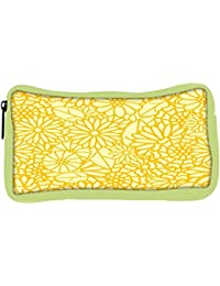 Snoogg Eco Friendly Canvas Abstract Yellow Floral Designer Student Pen Pencil Case Coin Purse Pouch Cosmetic Makeup...