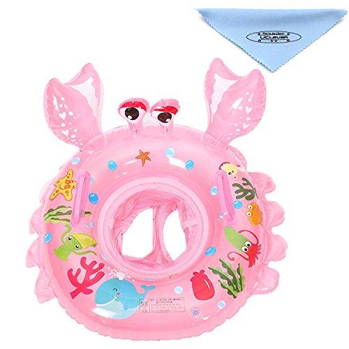 Uclever bambino salvagente granchio gonfiabile sicurezza piscina anello di nuotata con maniglie per bambini neonati 6-36 mesi (rosa)